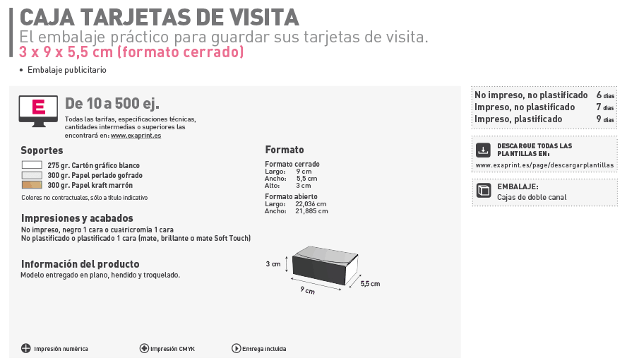 Cajas para Tarjetas de Visita - 15€ Gratis 1r Pedido | Exaprint